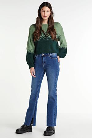 high waist flared jeans Kamelia met biologisch katoen blauw