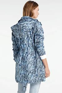whkmp's own parka blauw all-over print, Lichtblauw/donkerblauw