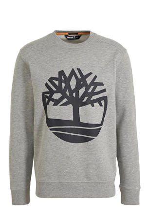 sweater met logo grijs/donkerblauw