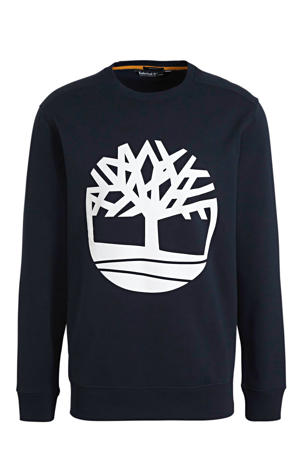 sweater met logo donkerblauw/wit