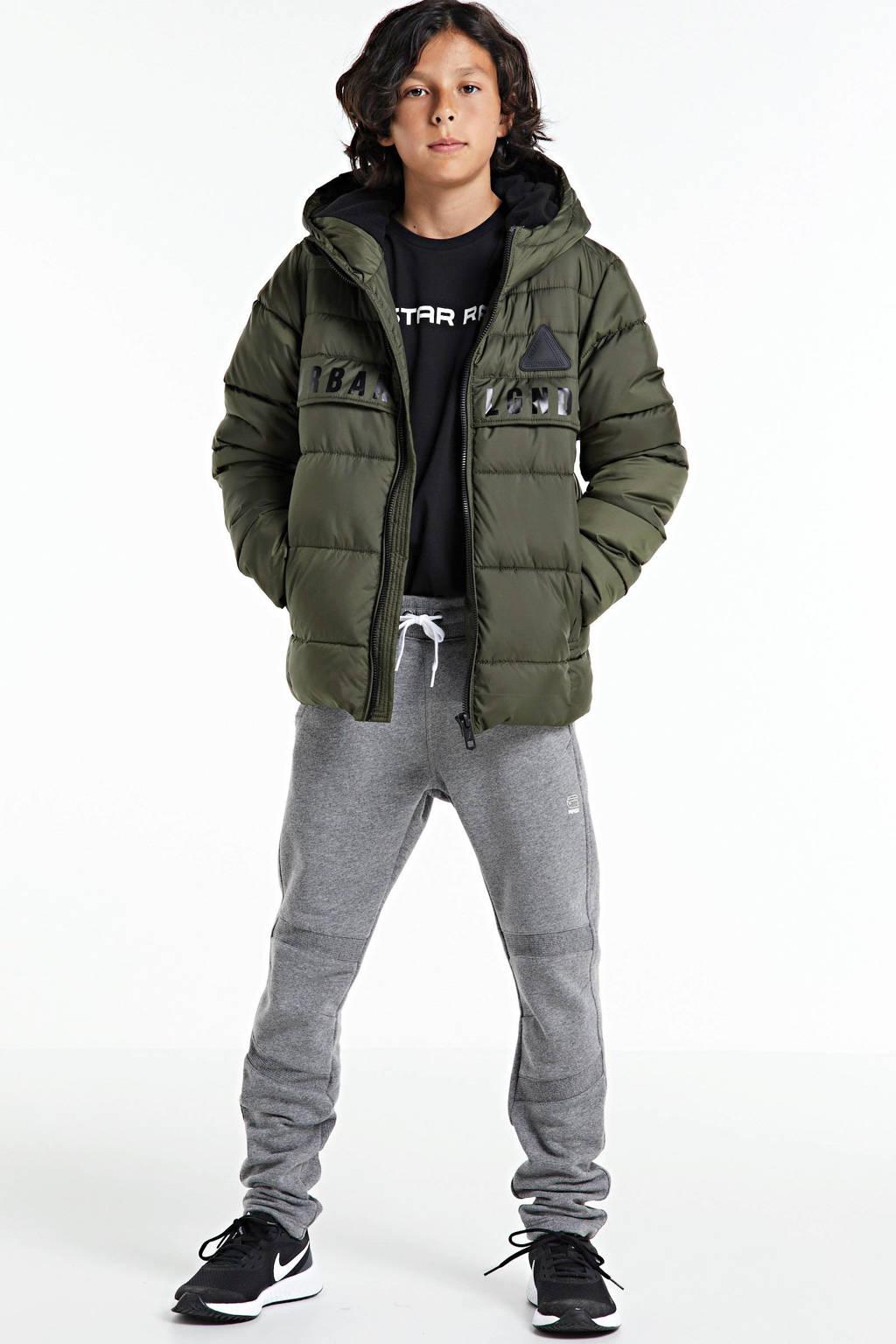 CoolCat Junior gewatteerde winterjas Jack met tekst army groen, Army groen