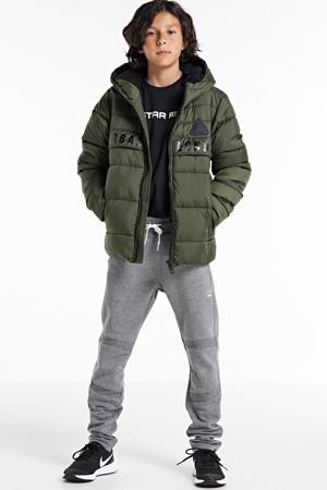 gewatteerde winterjas Jack met tekst army groen