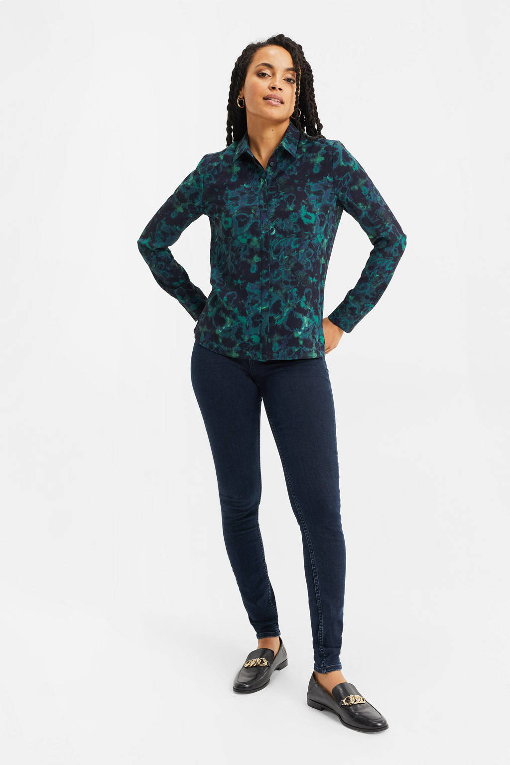 WE Fashion blouse met all over print deep blue, Deep blue