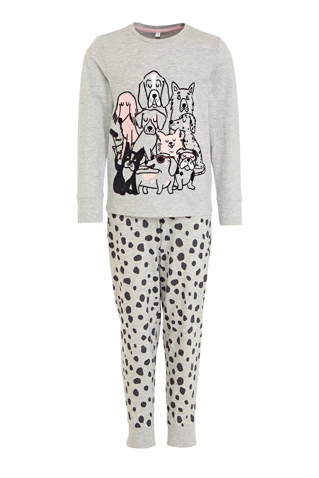 C&A Here & There pyjama - lichtgrijs/zwart, Lichtgrijs/zwart/roze