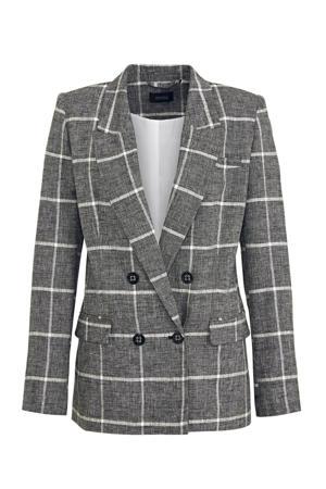 geruite blazer met linnen antraciet/wit