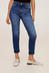 Mango cropped high waist mom fit jeans blue denim, Blue denim