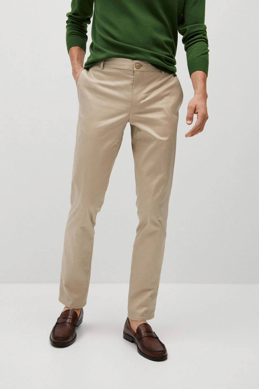 Mango Man slim fit pantalon wit, Beige