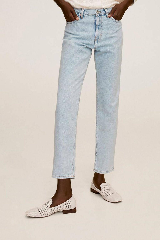Mango high waist straight fit jeans light blue denim, Light blue denim