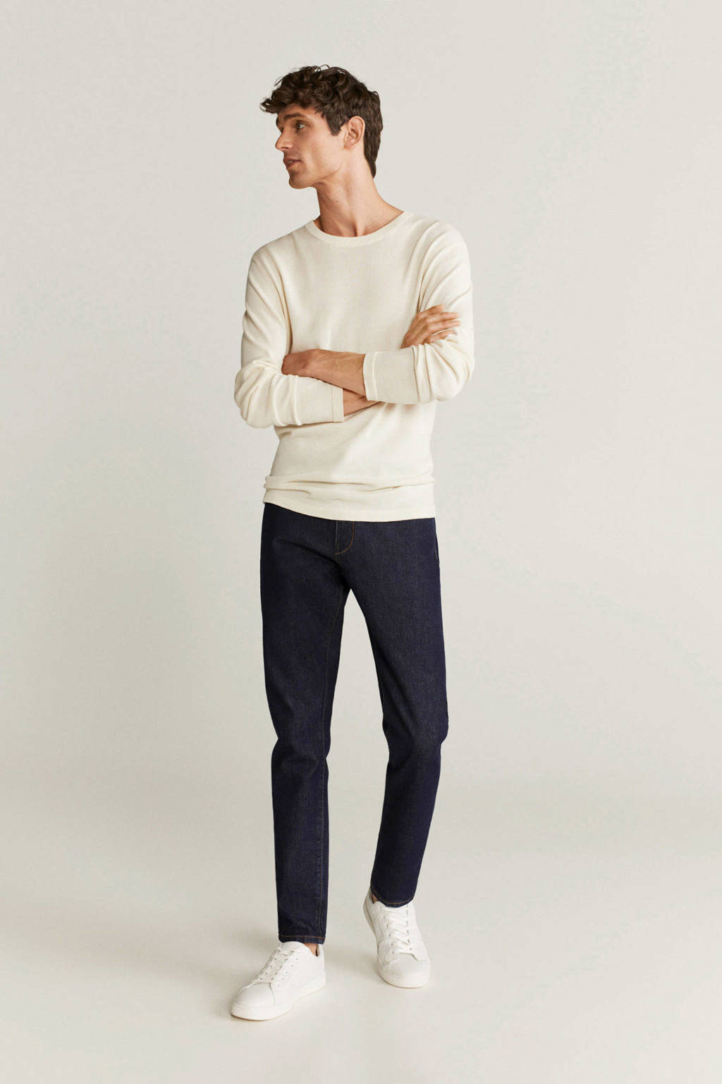 Mango Man tapered fit jeans changeant blauw