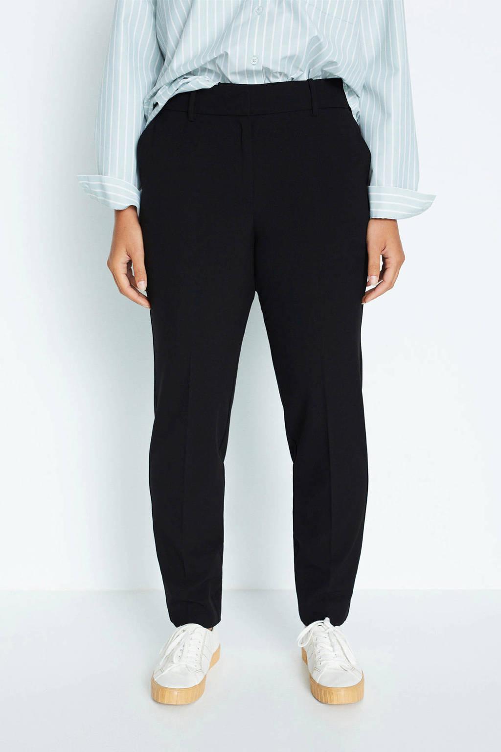 Violeta by Mango straight fit pantalon zwart, Zwart