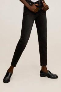 Mango cropped high waist mom jeans black denim, Black denim