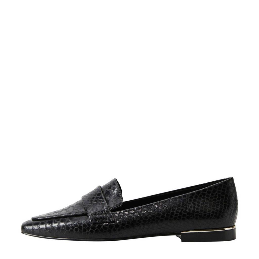 Mango   loafers slangenprint zwart, Zwart