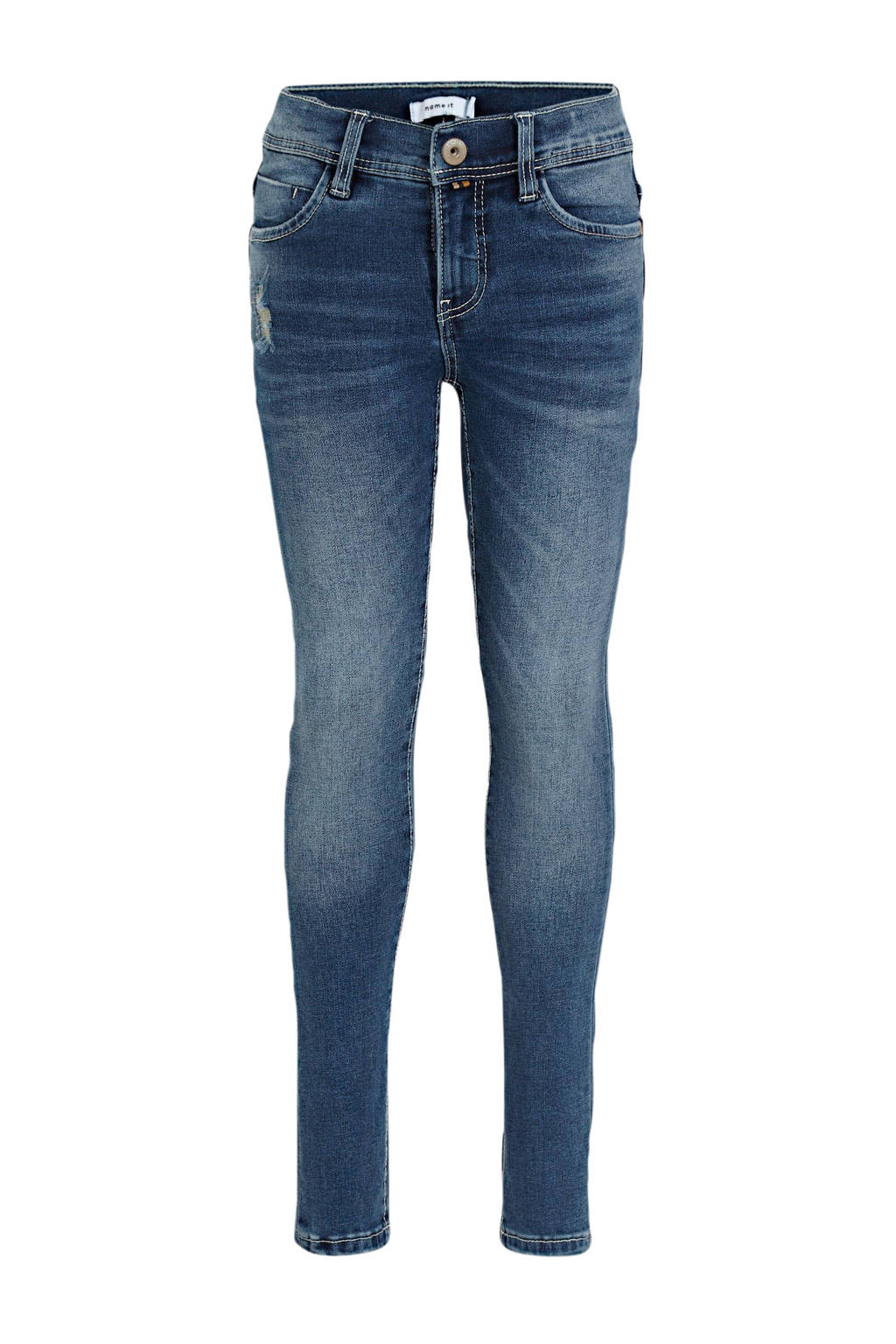 NAME IT KIDS skinny jeans Pete met slijtage stonewashede, Stonewashede