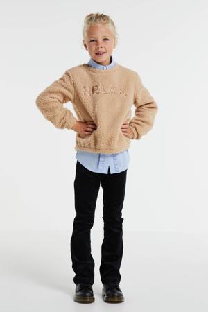 sweater Amara met tekst bruin