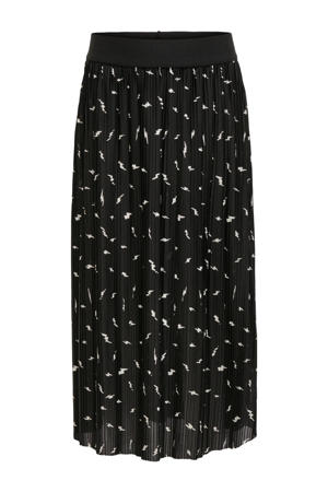plissé rok Elema met all over print zwart/wit