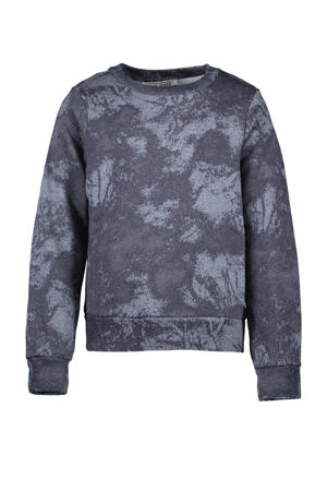 sweater Sheryl met all over print zwart/grijs