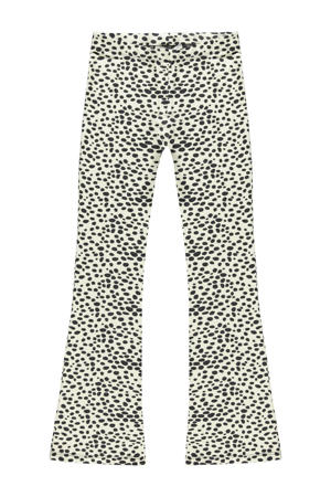 high waist flared broek Zuma met all over print ecru/donkergrijs