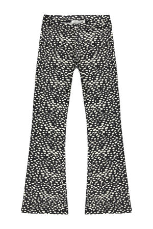 high waist flared broek Zuma met all over print zwart/offwhite