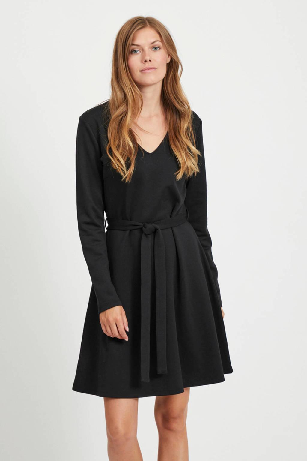 OBJECT A-lijn jurk Sava met ceintuur zwart, Zwart