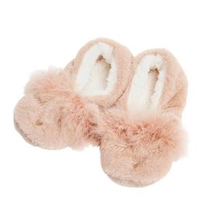 pantoffels van imitatiebont beige