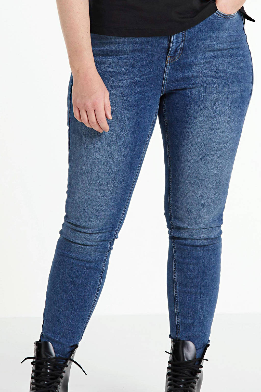 VERO MODA CURVE high waist skinny jeans VMLORA medium blue denim, Blauw