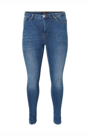 high waist skinny jeans VMLORA medium blue denim