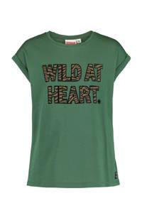CoolCat Junior T-shirt Elif met tekst army groen/zwart/bruin, Army groen/zwart/bruin