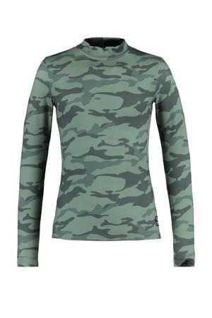 longsleeve Lotte met camouflageprint donkergroen
