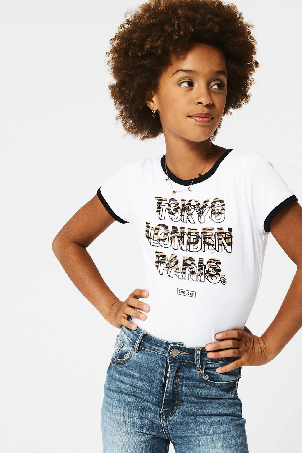 CoolCat Junior T-shirt Eden met tekst wit, Wit