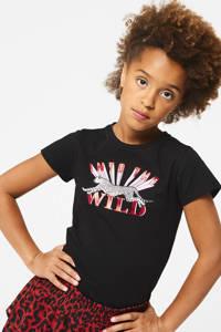 CoolCat Junior T-shirt Elisa met printopdruk zwart/roze/wit, Zwart/roze/wit