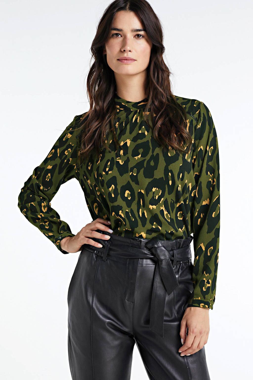 ONLY top New met all over print groen/zwart, Groen/zwart