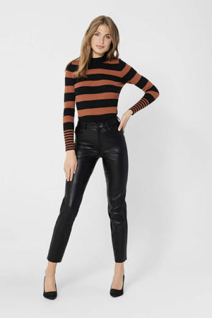 imitatieleren cropped high waist straight fit broek Emily zwart
