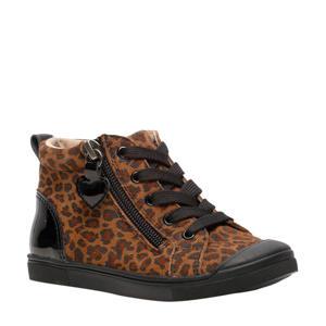 leren sneakers met panterprint bruin