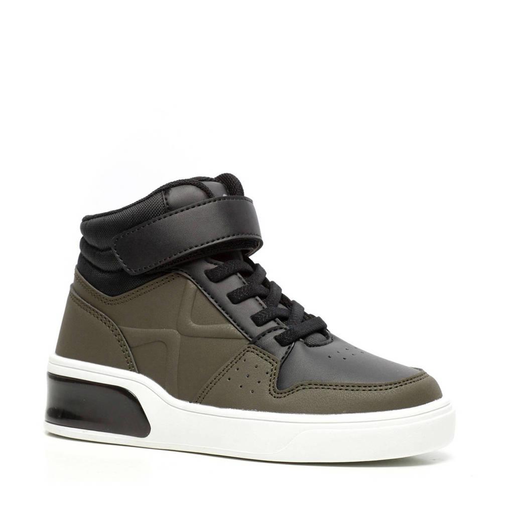 Scapino Blue Box   hoge sneakers met lichtjes kaki/zwart, Groen