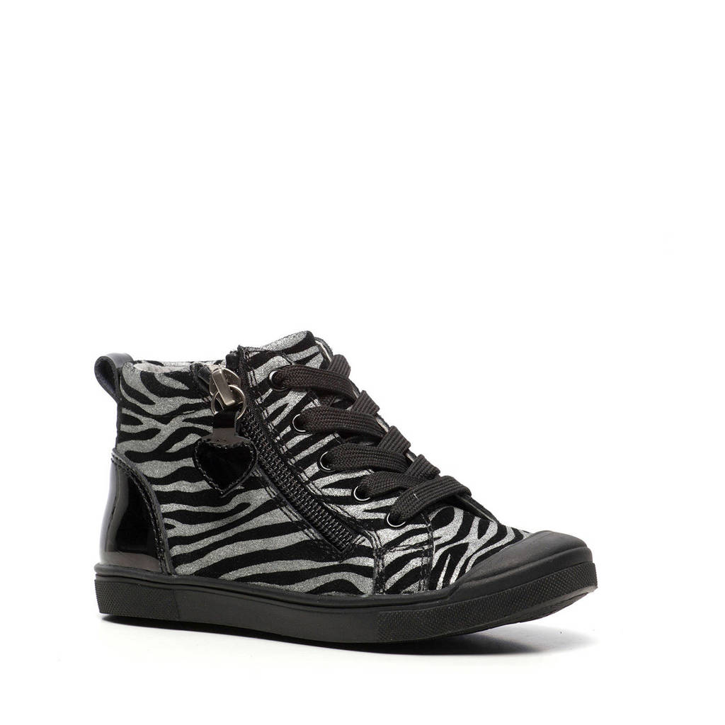 Scapino TwoDay   leren sneakers met zebraprint zwart/zilver, Zilver/zwart