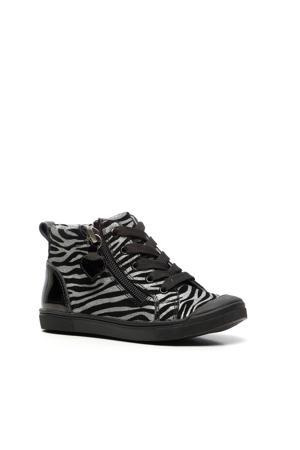 leren sneakers zwart/zilver