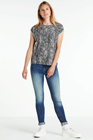 T-shirt Ava met all over print blauw