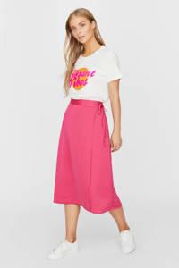 VERO MODA T-shirt Vittaolly van biologisch katoen wit/roze, Wit/roze