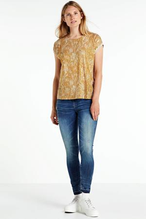 T-shirt Ava met all over print lichtbruin