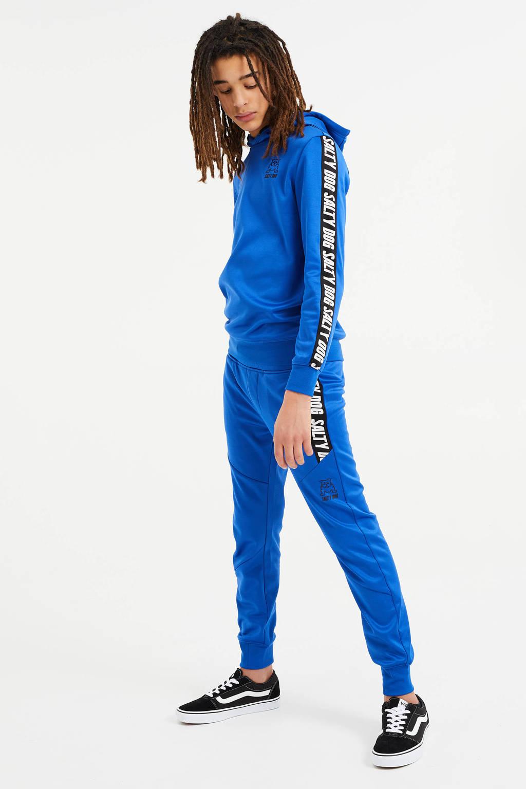 WE Fashion Salty Dog hoodie met tekst blauw, Blauw