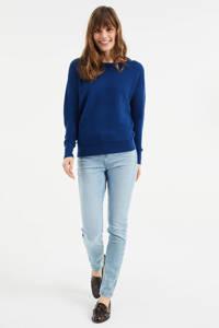 WE Fashion fijngebreide trui met textuur blauw, Blauw