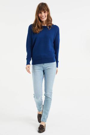 fijngebreide trui met textuur blauw