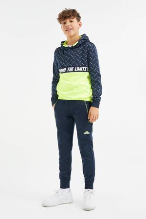 hoodie met mesh donkerblauw/limegroen