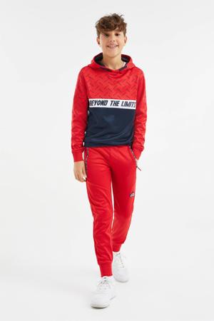 hoodie rood/donkerblauw/wit