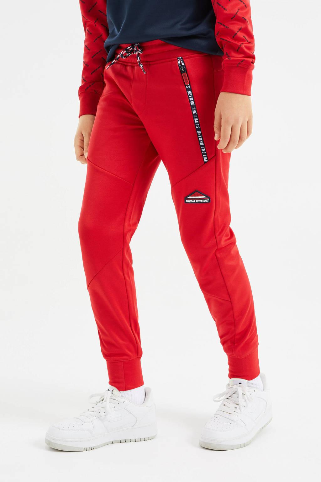 WE Fashion slim fit joggingbroek rood, Rood