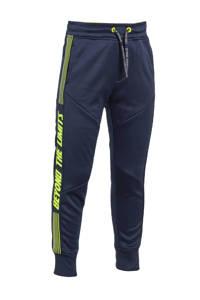 WE Fashion slim fit joggingbroek met tekst donkerblauw/limegroen, Donkerblauw/limegroen