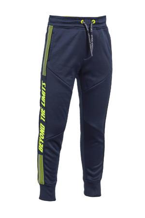 slim fit joggingbroek met tekst donkerblauw/limegroen