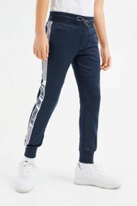WE Fashion slim fit joggingbroek met tekst donkerblauw/wit/rood, Donkerblauw/wit/rood