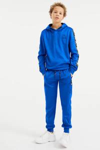 WE Fashion Salty Dog slim fit joggingbroek met tekst blauw, Blauw