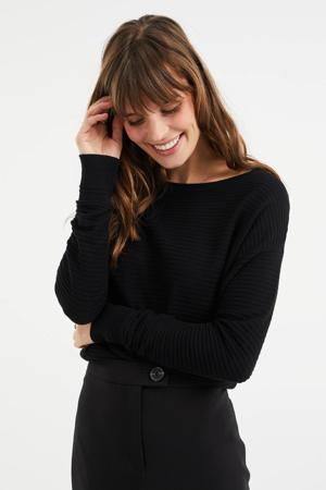 fijngebreide trui met textuur black uni
